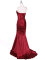 4918 Wine Charmuse Evening Gown - Wine, Back View Thumbnail