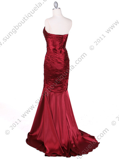 4918 Wine Charmuse Evening Gown - Wine, Back View Medium