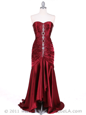 4918 Wine Charmuse Evening Gown, Wine