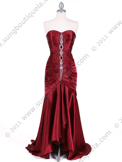 4918 Wine Charmuse Evening Gown - Wine, Front View Medium