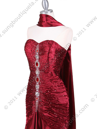4918 Wine Charmuse Evening Gown - Wine, Alt View Medium