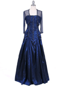 Navy Beaded Taffeta Evening Gown