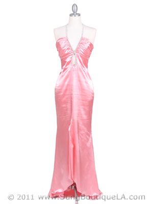 4933 Pink Halter Evening Gown with Rhinestone Straps, Pink