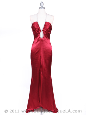4933 Wine Halter Evening Gown with Rhinestone Straps, Wine