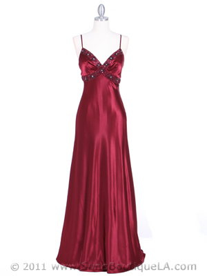 4949 Wine Sequins Charmeuse Evening Dress, Wine