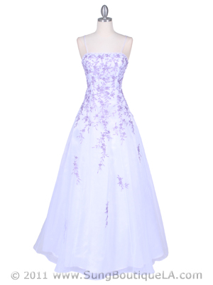 4970 White/Lilac Embroidery Prom Gown, White Lilac