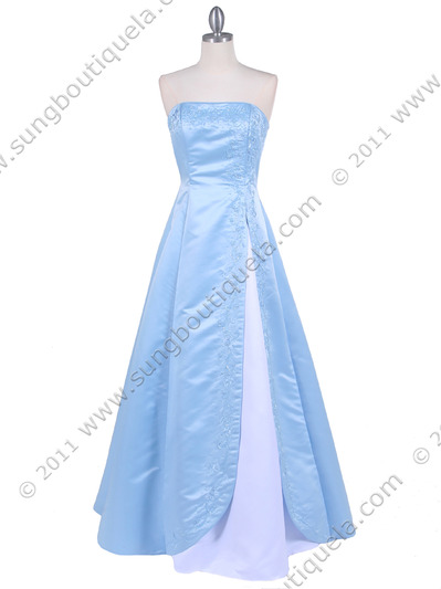 4987 Baby Blue Prom Dress - Baby Blue, Front View Medium