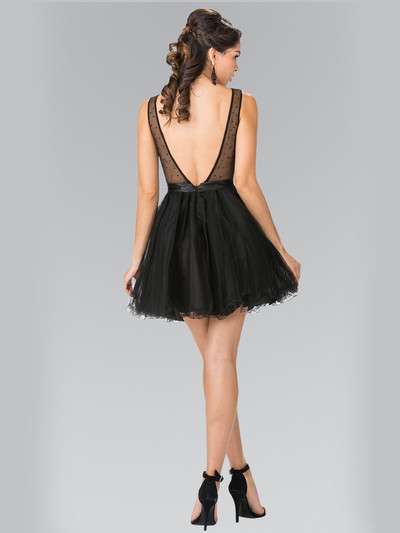 50-1459 Illusion Sweetheart Short Cocktail Dress - Black, Back View Medium