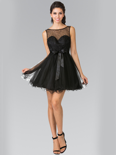 50-1459 Illusion Sweetheart Short Cocktail Dress - Black, Front View Medium