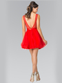 50-1459 Illusion Sweetheart Short Cocktail Dress - Red, Back View Thumbnail