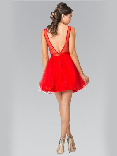 50-1459 Illusion Sweetheart Short Cocktail Dress - Red, Back View Medium