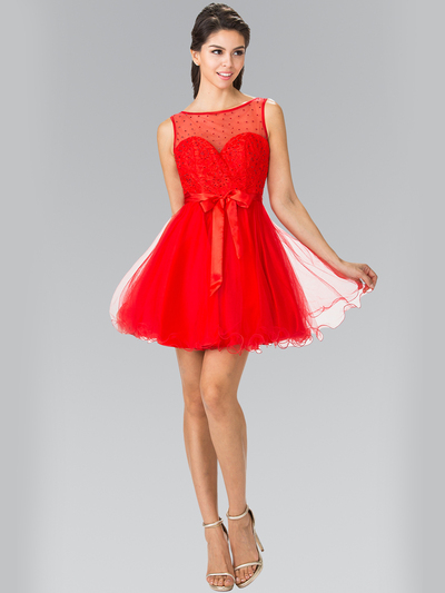 50-1459 Illusion Sweetheart Short Cocktail Dress - Red, Front View Medium