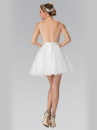 50-1459 Illusion Sweetheart Short Cocktail Dress - White, Back View Medium