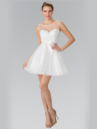 50-1459 Illusion Sweetheart Short Cocktail Dress - White, Front View Medium