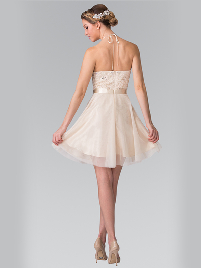 50-1465 Halter A-Line Cocktail Dress with Embroidery - Champagne, Back View Medium