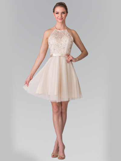 50-1465 Halter A-Line Cocktail Dress with Embroidery - Champagne, Front View Medium