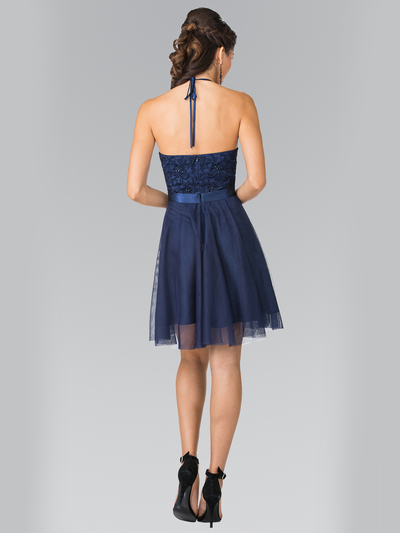 50-1465 Halter A-Line Cocktail Dress with Embroidery - Navy, Back View Medium