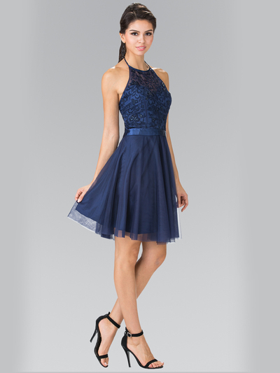 50-1465 Halter A-Line Cocktail Dress with Embroidery - Navy, Front View Medium