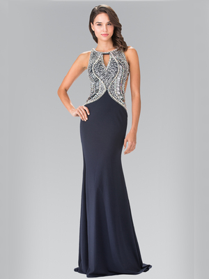 50-1473 Embellished Sequin Bodice Long Prom Dress, Navy Silver