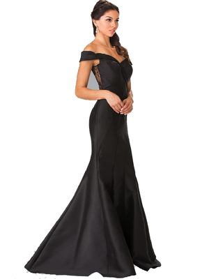 50-2213 Off The Shoulder Mermaid Long Prom Dress, Black