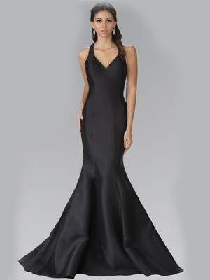 50-2224 Halter Long Prom Dress with Cutout Back and Train, Black