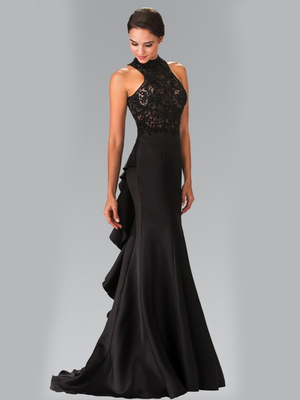50-2227 High Neck Embroidered Long Prom Dress, Black