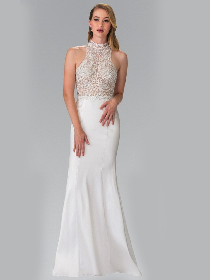 High Neck Embroidered Long Prom Dress | Sung Boutique L.A.