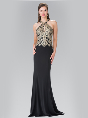 50-2231 Halter Embroidered Long Prom Dress, Black