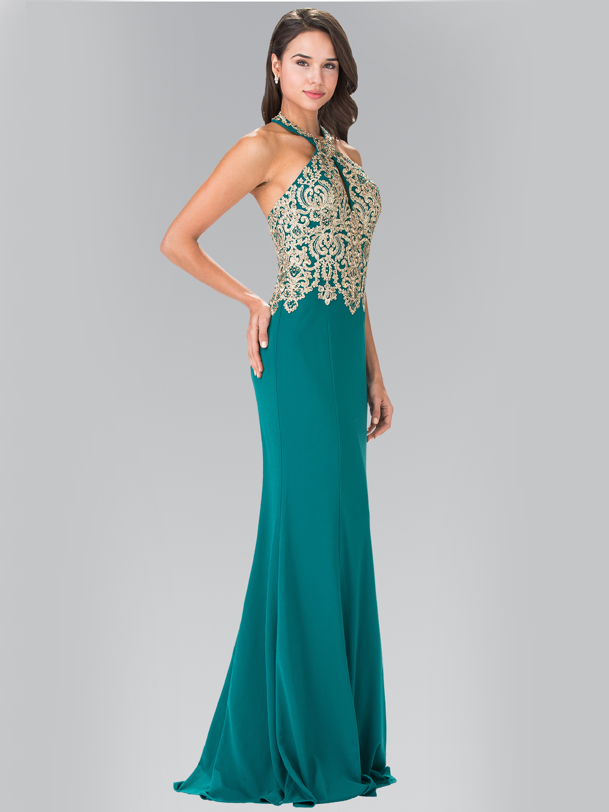 Halter Embroidered Long Prom Dress | Sung Boutique L.A.