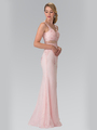 50-2240 Mock Two-Piece Lace Evening Dress with Flare Hem - Blush, Back View Thumbnail