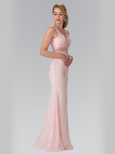 50-2240 Mock Two-Piece Lace Evening Dress with Flare Hem - Blush, Back View Medium