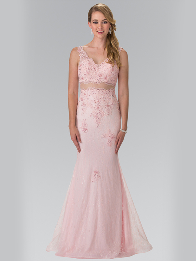 50-2240 Mock Two-Piece Lace Evening Dress with Flare Hem - Blush, Front View Medium