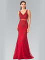 50-2240 Mock Two-Piece Lace Evening Dress with Flare Hem - Burgundy, Front View Thumbnail