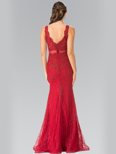 50-2240 Mock Two-Piece Lace Evening Dress with Flare Hem - Burgundy, Back View Medium