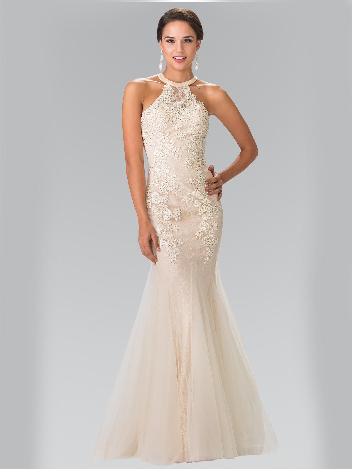 Halter Beaded Lace Tulle Long Prom Dress Sung Boutique L A