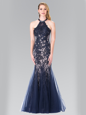 50-2243 Halter Beaded Lace Tulle Long Prom Dress, Navy