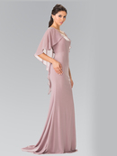 50-2254 Long Evening Dress with Cape, Mocha