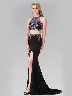 50-2277 Two-Piece Beaded Long Prom Dress with Slit, Black