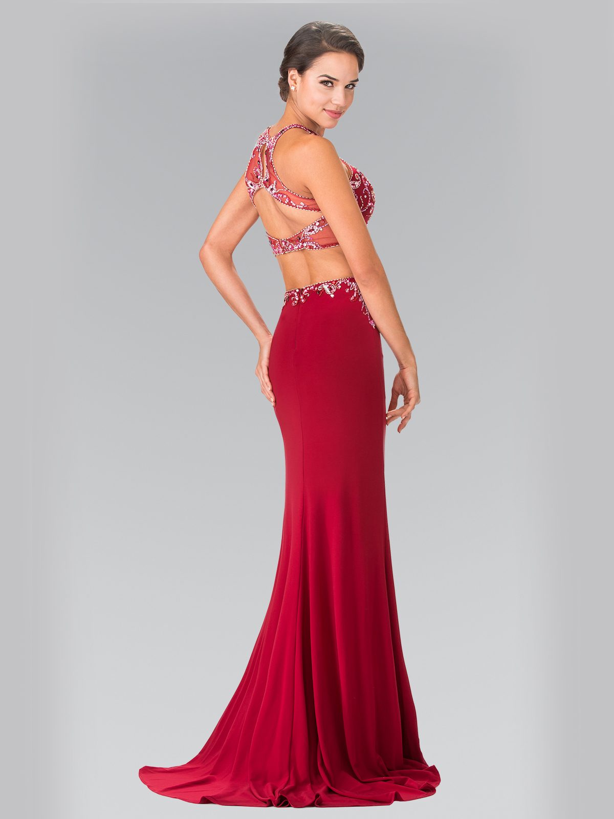 Two Piece Beaded Long Prom Dress With Slit Sung Boutique