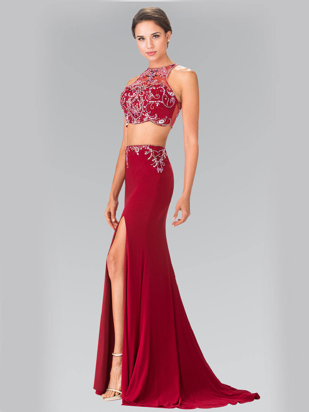 Two-Piece Beaded Long Prom Dress with Slit   Sung Boutique L.A.