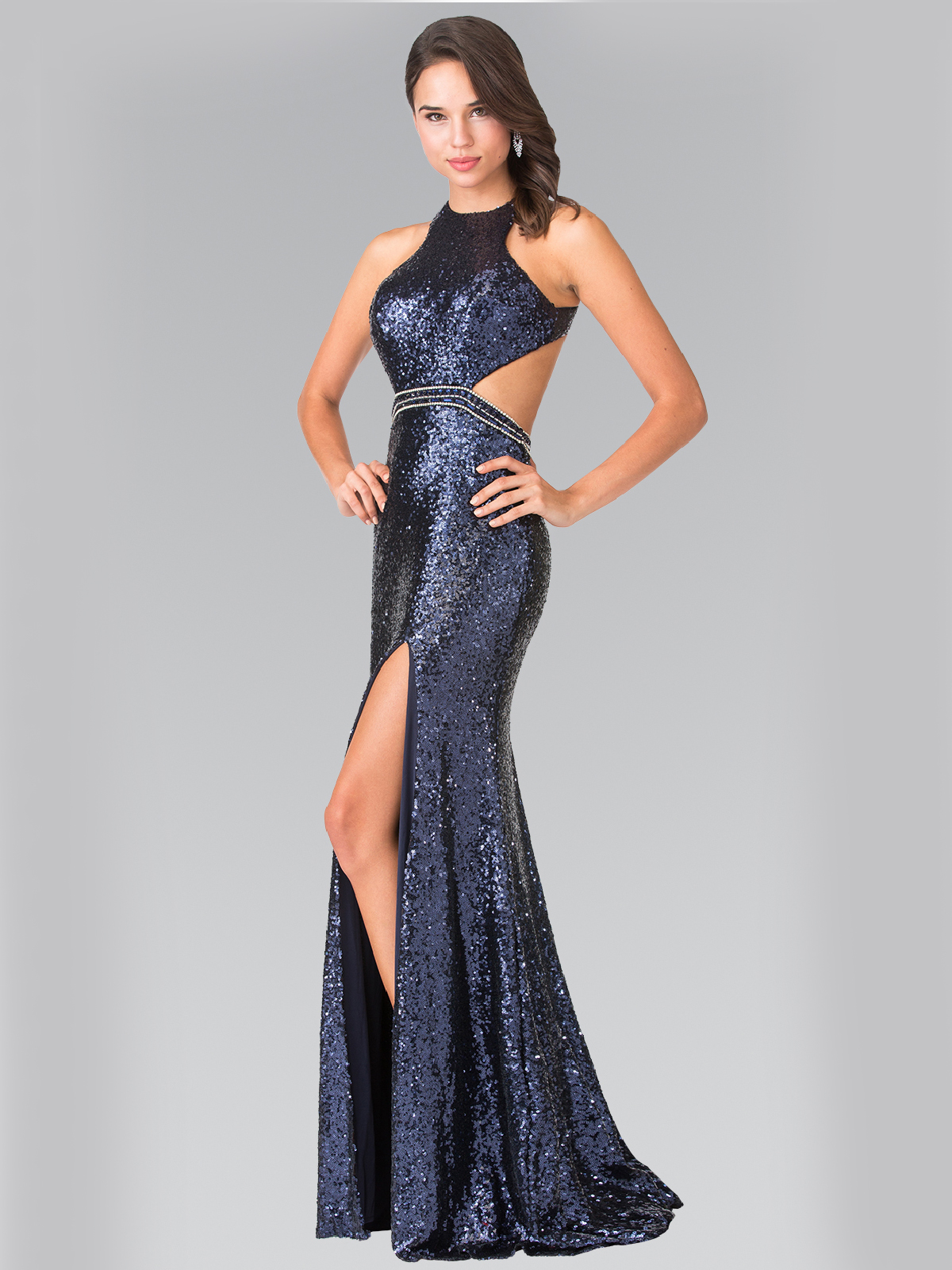 High Neck Sequin Evening Dress With Open Back Sung