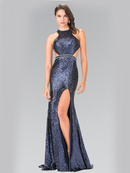 50-2278 High Neck Sequin Evening Dress with Open Back, Navy