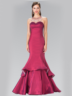 50-2290 Jeweled Accented Neckline Two-Tier Prom Dress with Slit, Burgundy