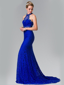 50-2297 High Neck Lace Long Prom Dress with Train, Royal Blue