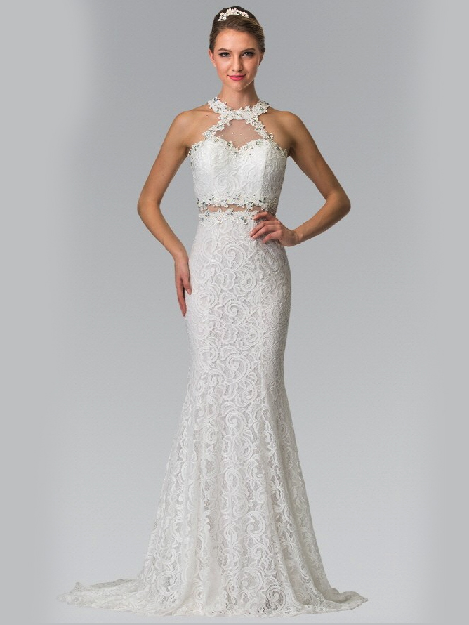 High Neck Lace Long Prom Dress with Train | Sung Boutique L.A.
