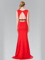 50-2306 High Neck Long Evening Dress with Cutout Back - Red, Back View Thumbnail