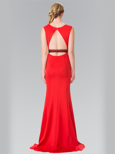 50-2306 High Neck Long Evening Dress with Cutout Back - Red, Back View Medium