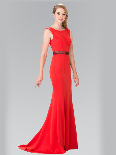 50-2306 High Neck Long Evening Dress with Cutout Back - Red, Front View Medium