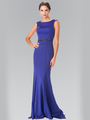 50-2306 High Neck Long Evening Dress with Cutout Back - Royal Blue, Front View Thumbnail