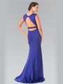 50-2306 High Neck Long Evening Dress with Cutout Back - Royal Blue, Back View Thumbnail